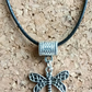 Tibetan Silver Dragonfly on a Leather Necklace