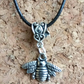 Tibetan Silver Bee on a Leather Necklace