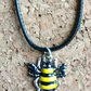 Lovely Enamelled Bee on a Leather Necklace