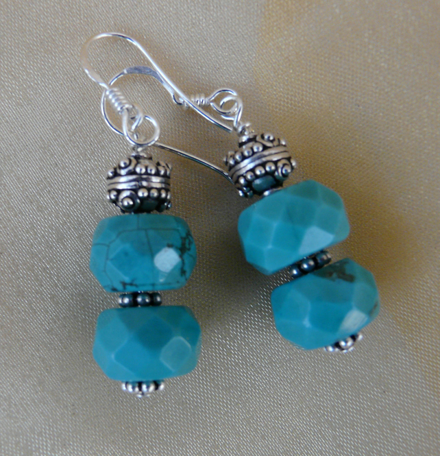 Turquoise rondelle and silver earrings