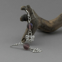 Fine Silver Heart Earrings with Glass Beads
