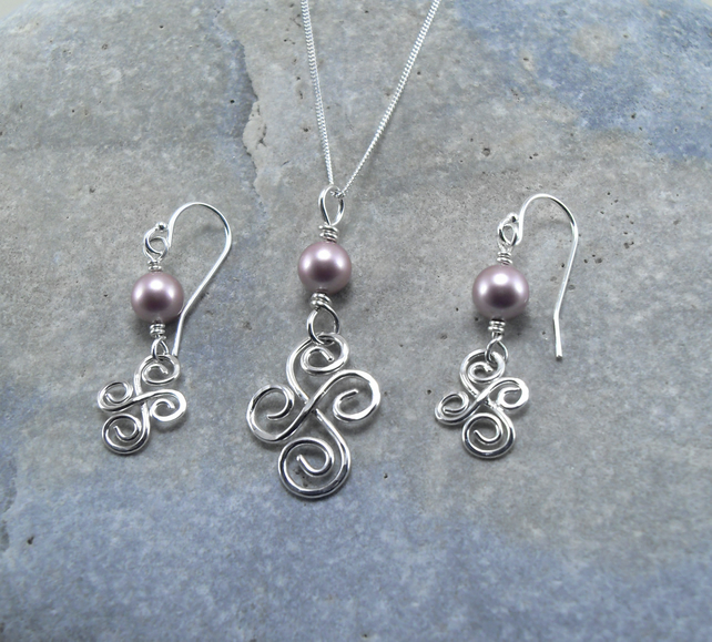 Sterling Silver Spiral Pendant and Earrings Set with pink beads