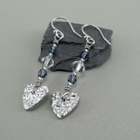 Fine Silver Heart and Swarovski Crystal and Blue Bead Earrings