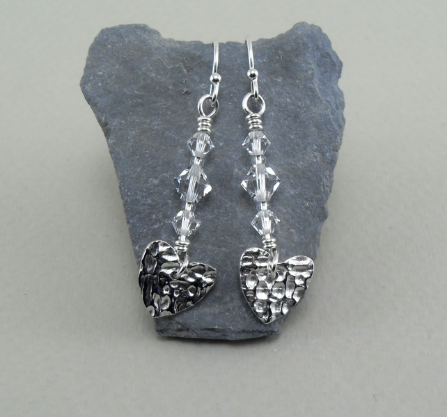 Fine Silver Heart and Swarovski Crystal Bead Drop Earrings