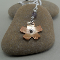 Copper and Sterling Silver Flower Pendant