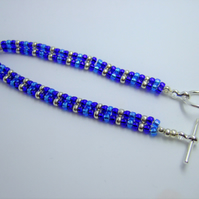Blue and silver seed bead bracelet
