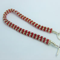 Ruby red and silver seed bead bracelet
