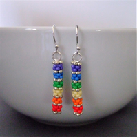 Rainbow coloured seed bead and sterling silver earrings
