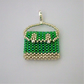 Green and silver miniature seed bead handbag charm