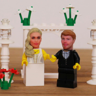 Custom made 3D printed LEGO Minifigure Wedding Cake Topper - Unique Gift