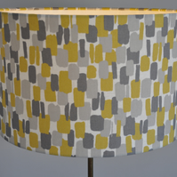 Retro mustard and grey Lampshade Clarke and Clarke Sundowner Chartreuse