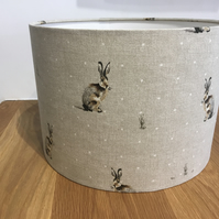 Hare linen lampshade woodland, rabbit countryside cottage traditional
