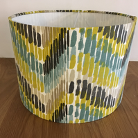 Lampshade - teal, lime and beige Clarke and Clarke Windjammer fabric - retro