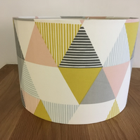 Geometric pastel pink, lime and grey lampshade mid century modern