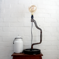 handcrafted and repurposed lamps : antique cog and brace lamp