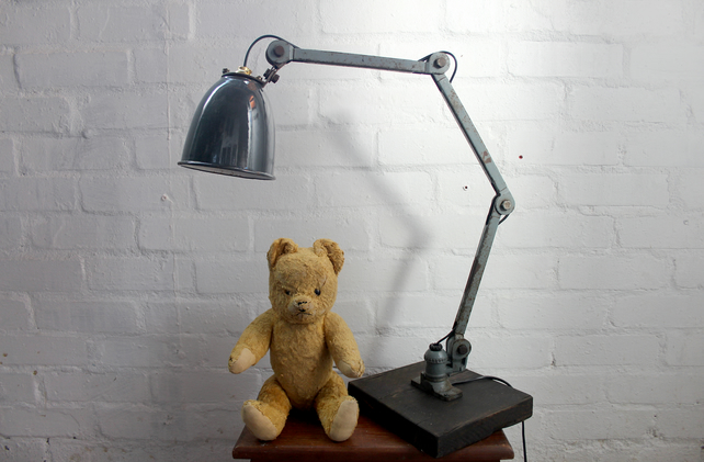 handcrafted and repurposed lamps : antique industrial work poise lamp