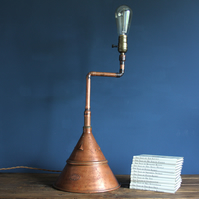 handcrafted and repurposed lamps : antique copper posser desk beside table lamp