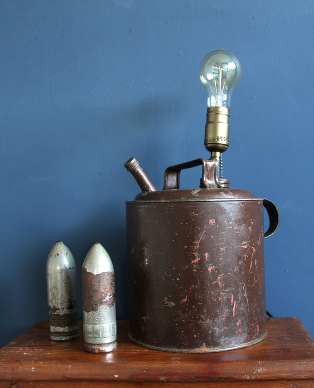 handcrafted and repurposed lamps : vintage Brown paraffin can lamp