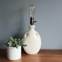 handcrafted and repurposed lamps : antique cream hot water bottle lamp