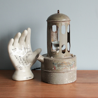 handcrafted and repurposed lamps : antique British made paraffin heater lamp