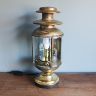 handcrafted & repurposed lamps : antique brass carriage desk bedside table lamp
