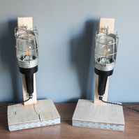 handcrafted and repurposed lamps : pair of antique inspection lamps