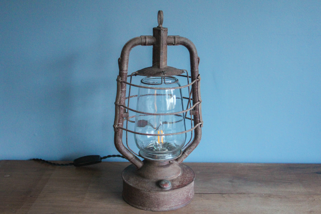 handcrafted and repurposed lamps : antique hurricane lantern