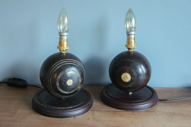 handcrafted and repurposed lamps : pair of vintage wooden bowling ball lamps