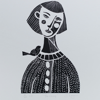 The Gossip, original handpulled limited edition linocut print