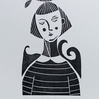 Like a Fish out of Water, original handpulled limited edition linocut print