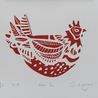 Hen 1, original handpulled Limited Edition linocut print, hens, chickens