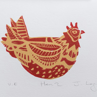 Hen 2, original handpulled limited edition linocut print