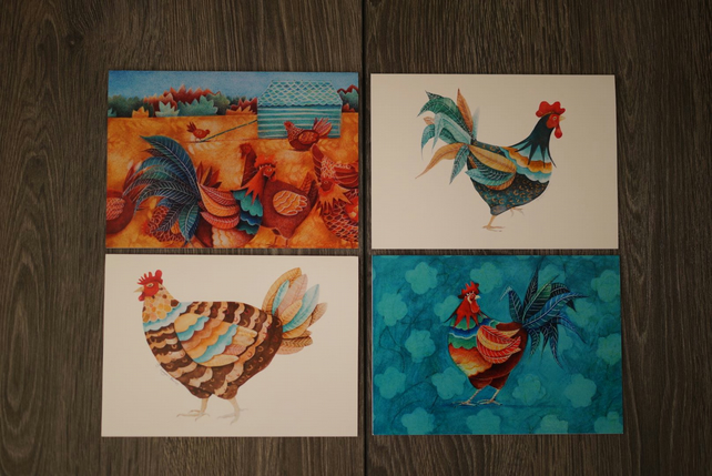 Set of 4 rooster and hens art cards