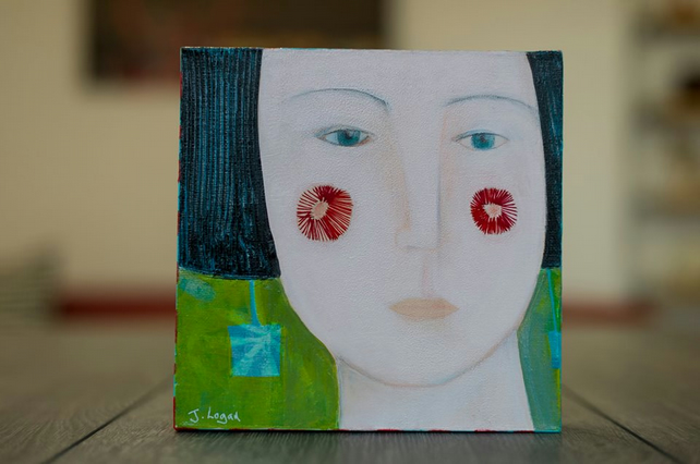 Girls Who Wear Earrings 1, original art, mixed media and acrylic painting
