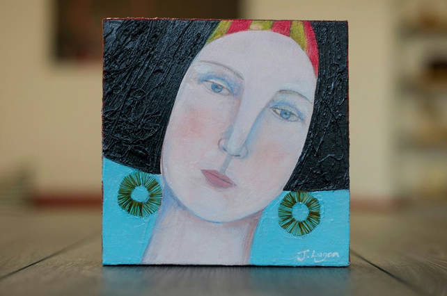 Girls Who Wear Earrings 3, original art, acrylic painting, mixed media