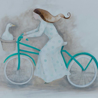 Wild Goose Chase, Limited Edition Giclée Print, goose, bicycle, bike