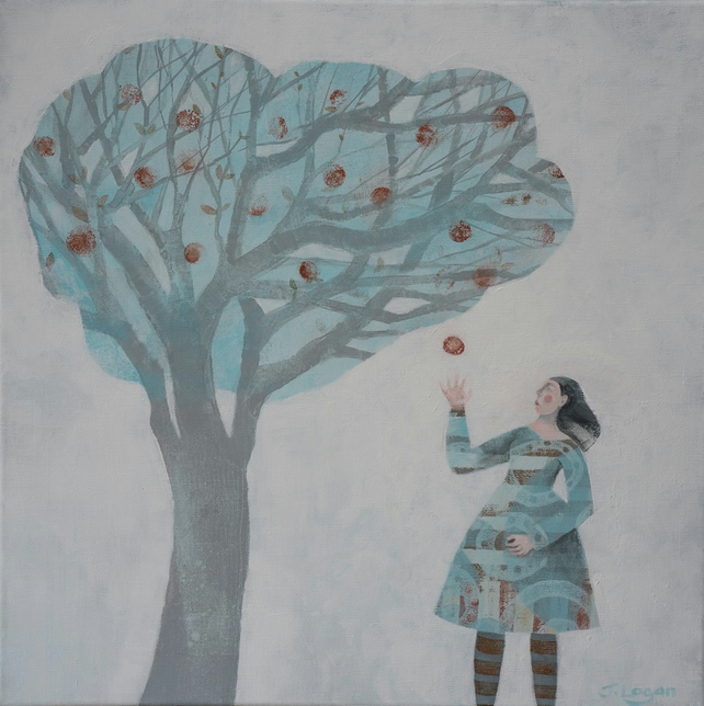 The Apple Doesn`t Fall Far From The Tree, original acrylic painting on linen