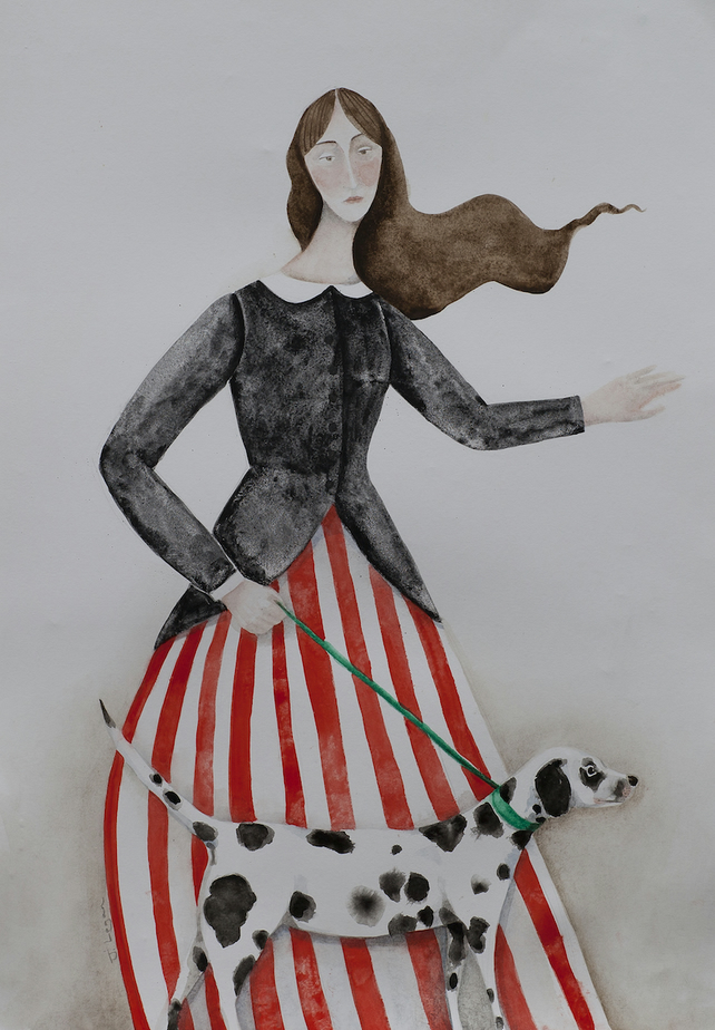 Madame Stripe Walks Spot, Limited Edition Giclée Print, dogs, dalmatians