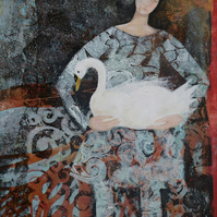 Swan, new SALE price! original art, monoprint, gelliprint