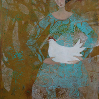 Hen, original art, monoprint, gelliprint