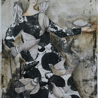 Paloma, new SALE price! original monoprint, gelliprint