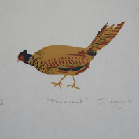 Pheasant, original handpulled limited edition linocut print, run of only 7