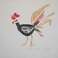 It's A Brand New Day, original handpulled linoprint, limited edition of only 12