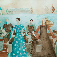 Eight Maids-a-Milking II, giclee print of original watercolour