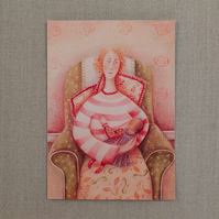 Hush Little Baby, art card, Mother's Day, new baby, cards for Mother's Day