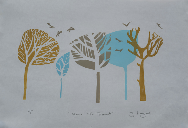 Home To Roost, original handpulled linocut print, limited edition of only 8