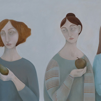 Three's a Crowd, original oil painting on canvas