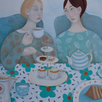 High Tea, original oil painting on linen canvas
