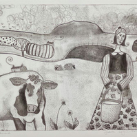 The Milkmaid, original monotype print on paper, FREE UK SHIPPING!