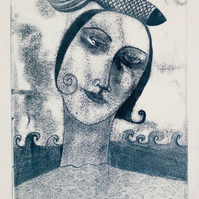 Like a Fish out of Water, 1, original monotype print, FREE UK SHIPPING!